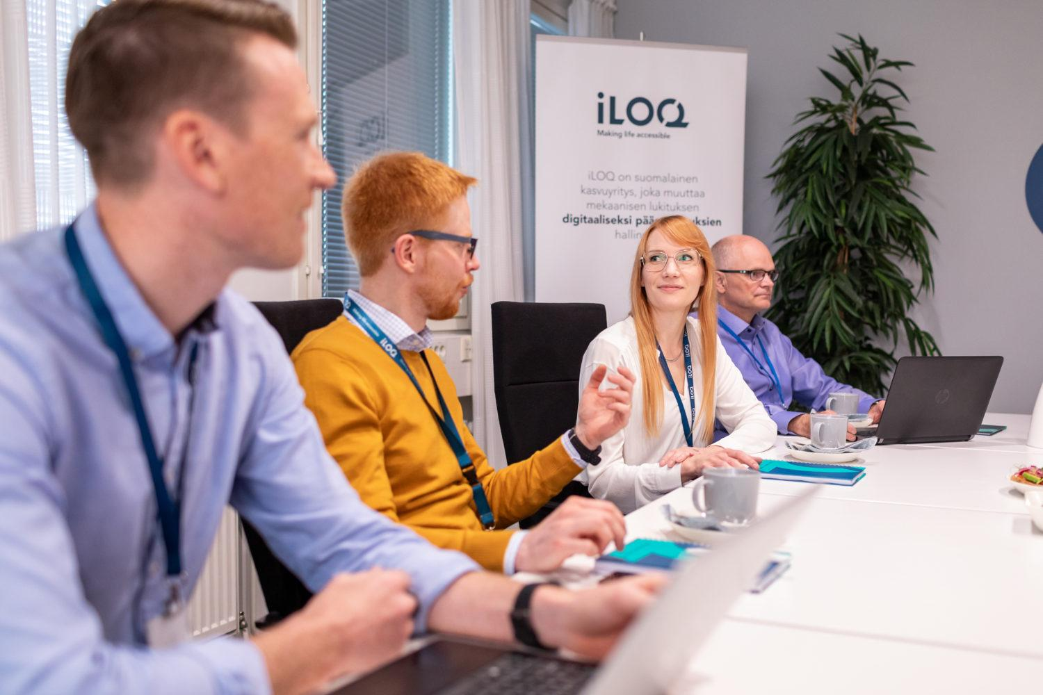 iLOQ employees in a meeting